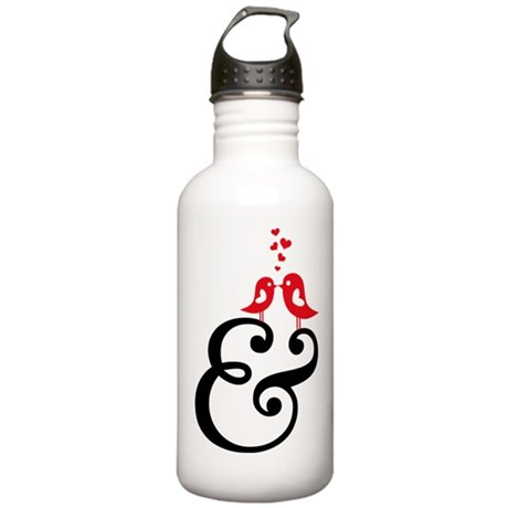 ampersand sign with cute birds and hearts Water Bo