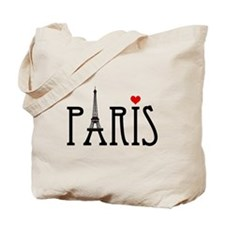 Love Paris with Eiffel tower and red heart Tote Ba