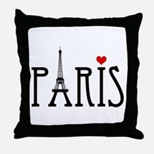 Love Paris with Eiffel tower and red heart Throw P