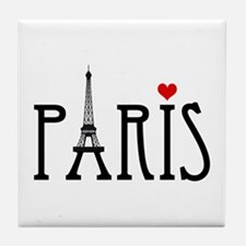 Love Paris with Eiffel tower and red heart Tile Co