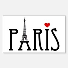 Love Paris with Eiffel tower and red heart Decal