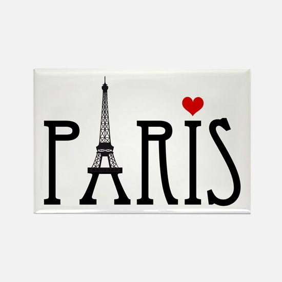 Love Paris with Eiffel tower and red heart Rectang