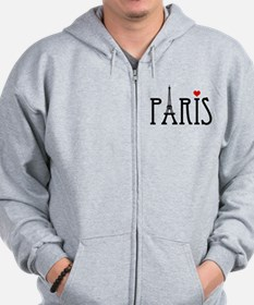 Love Paris with Eiffel tower and red heart Zip Hoodie
