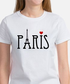 Love Paris with Eiffel tower and red heart T-Shirt