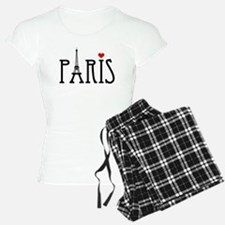 Love Paris with Eiffel tower and red heart Pajamas