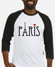 Love Paris with Eiffel tower and red heart Basebal