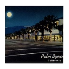 Night Scene, Palm Springs, California Tile Coaster