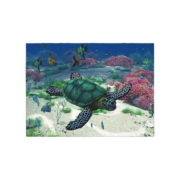 Sea Turtle 5'x7'Area Rug By Gatterwe