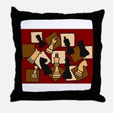 Chess Pieces Abstract Art Throw Pillow