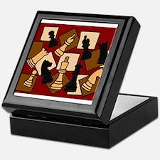 Chess Pieces Abstract Art Keepsake Box