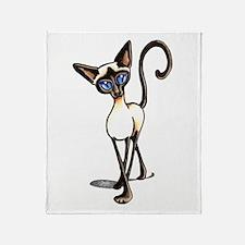 Siamese Cat Crosswalk Throw Blanket
