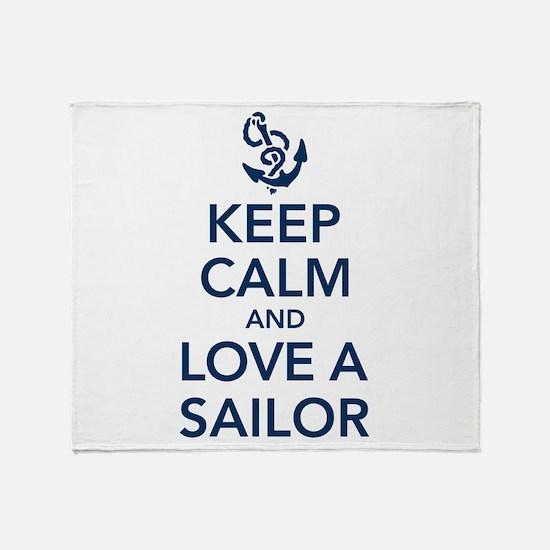 Keep Calm and Love a Sailor Throw Blanket
