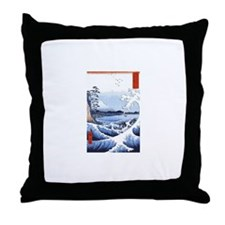 Ukiyo-e Mount Fuji Throw Pillow