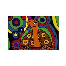 Turtle Abstract Art Rectangle Magnet