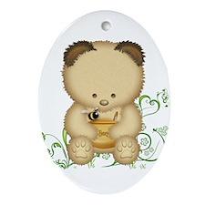 Cute Honey Bear Ornament (Oval)