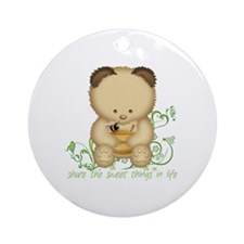 Cute Honey Bear Ornament (Round)