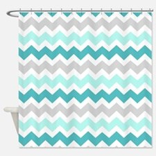 Blue Grey Chevron Pattern Shower Curtain