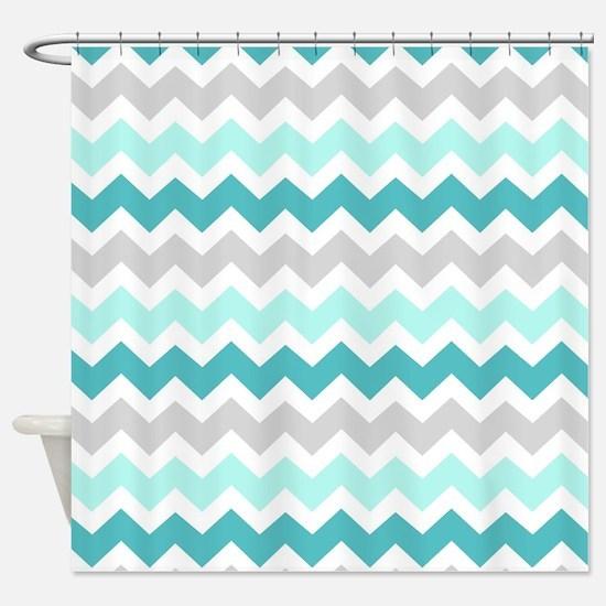 Blue Grey Chevron Pattern Shower Curtain