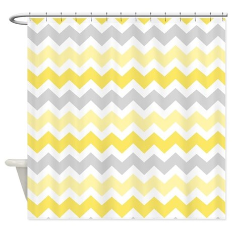 Yellow Grey Chevron Shower Curtain By Dreamingmindcards