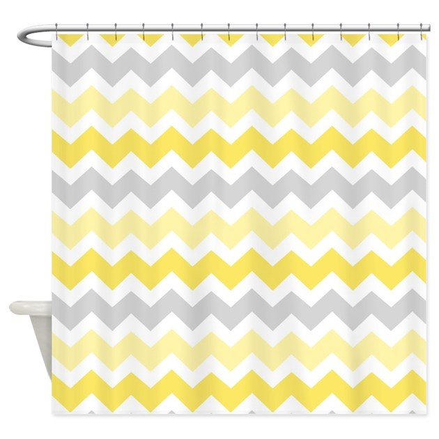 yellow grey chevron shower curtain by dreamingmindcards. Black Bedroom Furniture Sets. Home Design Ideas