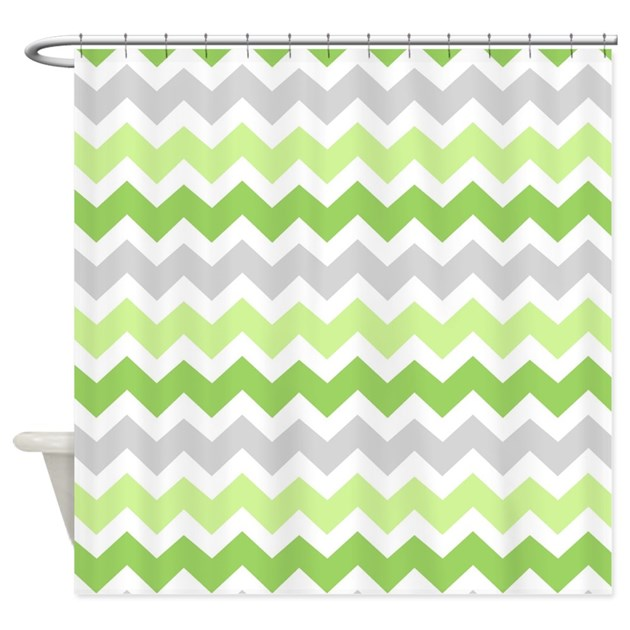 Lime Green Grey Chevron Shower Curtain By DreamingMindCards