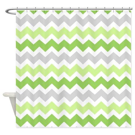 lime green grey chevron shower curtain