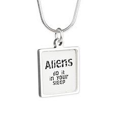 Aliens Do It Silver Square Necklace
