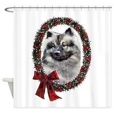 Keeshond Christmas Shower Curtain