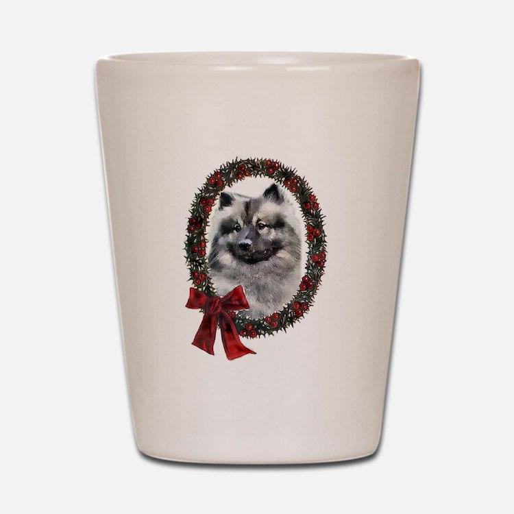 Keeshond Christmas Shot Glass
