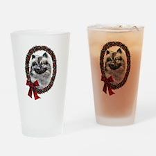 Keeshond Christmas Drinking Glass