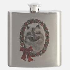 Keeshond Christmas Flask