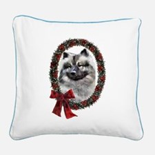 Keeshond Christmas Square Canvas Pillow