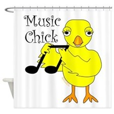 Music Chick Text Shower Curtain
