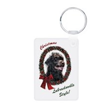 Labradoodle Christmas Aluminum Photo Keychain