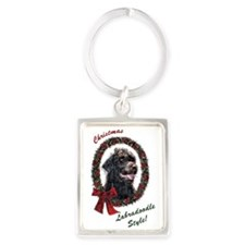 Labradoodle Christmas Portrait Keychain