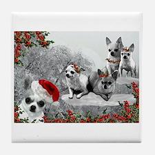 Chihuahua Christmas Dogs Tile Coaster