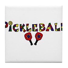 Colorful Pickleball Letters and Paddles Tile Coast