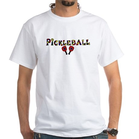 Colorful Pickleball Letters and Paddles T-Shirt