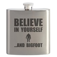 Believe Yourself Bigfoot Flask