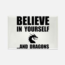 Believe Yourself Dragons Rectangle Magnet (10 pack