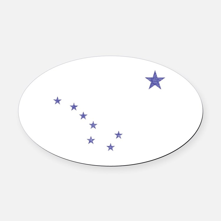 Faded Alaska State Flag Oval Car Magnet