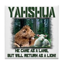 Yahshua, Lion & Lamb! Tile Coaster