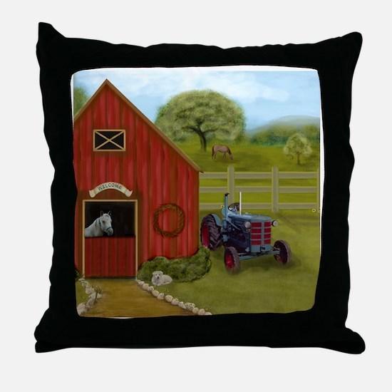 The Horse Barn Throw Pillow