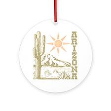 Vintage Arizona Cactus and Sun Ornament (Round)