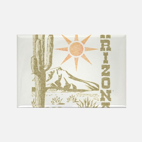 Vintage Arizona Cactus and Sun Rectangle Magnet