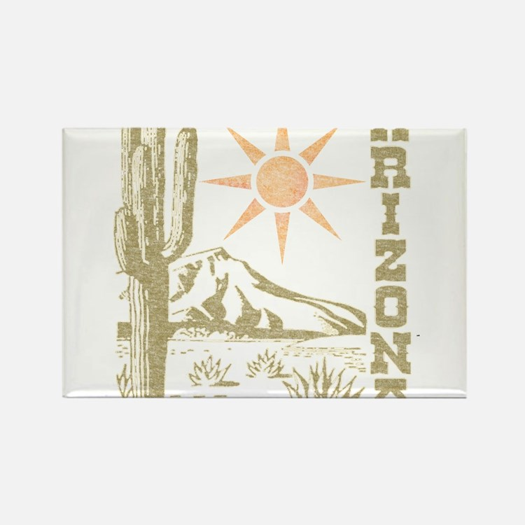 Vintage Arizona Cactus and Sun Rectangle Magnet