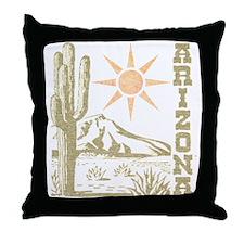 Vintage Arizona Cactus and Sun Throw Pillow