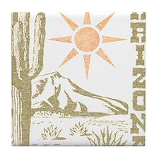 Vintage Arizona Cactus and Sun Tile Coaster