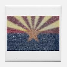 Faded Arizona State Flag Tile Coaster