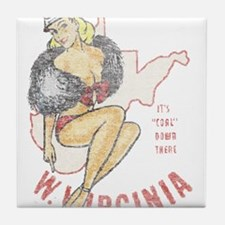 Faded West Virginia Pinup Tile Coaster